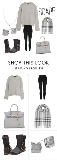 """""""#scarf"""" by mobarshira-mourine on Polyvore featuring E L L E R Y, River Island, Hermès, Burberry, SOREL, Kate Spade and VIXI"""
