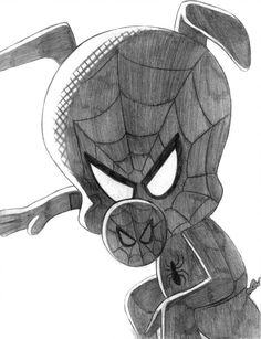 Spider-Ham (Peter Porker) - (Spider-Man Into the S by Spiderman Drawing, Spiderman Art, Chibi Marvel, Marvel Art, Spider Verse, Avengers Drawings, Colored Pencil Artwork, Portrait Sketches, Drawing Reference