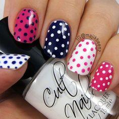 "Nails / Nailart - Dotticure Nails ""Tempest"" (white), Julep ""Char"" (navy blue), and Fresh Paint ""High Voltage"" (pink) Fancy Nails, Love Nails, Pink Nails, Fabulous Nails, Gorgeous Nails, Pretty Nails, Perfect Nails, Dot Nail Art, Polka Dot Nails"