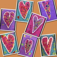 Stamp printing gadgets with tempera paint was the first step in creating these joyous valentines. The next step was cutting them out, gluing...