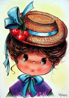 In the Margaret's Keane sad-eye waif paintings captured the public's hearts, creating a sensation; mass-marketed prints of thes. Vintage Girls, Vintage Children, Vintage Art, Vintage Greeting Cards, Vintage Postcards, Mary May, Funny Face Drawings, Decoupage, Gif Animé