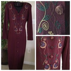 Carole Little deep berry sweater dress Carole Little deep berry sweater dress with intricate embroidered details on the dress and the (10) buttons. Form fitting large. Approximately size 12. Never worn. Carole Little Dresses Midi