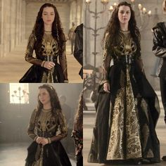 "196 Likes, 8 Comments - A Reign Fan Account❤AgentGreer (@everythingreign) on Instagram: ""Every dress Mary has ever worn™ Season 1 episode 16 ""Monsters"" Love this dress, black and gold like…"""