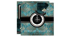 This vintage modern Victorian style interpretation of the Mad Hatter Alice in Wonderland tea party combines vintage elegance, whimsical romance and modern adaption of a time honored tale. It features a taupe vintage damask over a distressed emerald green design with an antique clock face and of course the modern version of the Mad Hatter's hat complete with jeweled hat pin. This invitation is for those who want something unique and elegant.  Easily customized with your special day details…