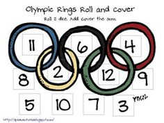 Olympic Math Roll and Covers. Roll the dice and match number to dice number Kids Olympics, Summer Olympics, Usa Olympics, Olympic Idea, Olympic Games, Classroom Freebies, Preschool Classroom, Classroom Ideas, Family Math Night