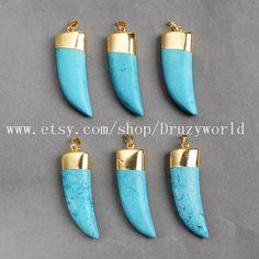 3Pcs&5Pcs Blue Elephant's Tusk Gold Plated Howlite Turquoise Pendant Bead Polished Knife Turquoise Gemstone Pendant Jewelry Handcraft G0473 by Druzyworld on Etsy