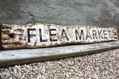 Flea Market Rustic Distressed Large Wood Sign by TheUnpolishedBarn