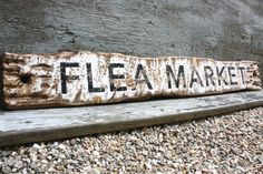Flea Market Rustic Distressed Large Wood Sign by TheUnpolishedBarn