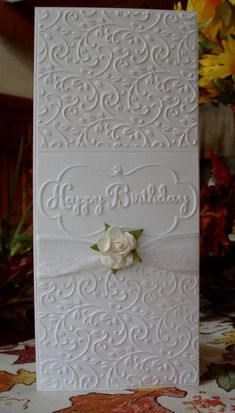 Gorgeous white on white. Would be a nice wedding card too.