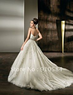 2013 New Sweetheart Semi-Cathedral length train Beaded Belt Tulle lace Wedding Dresses Bridal Gown