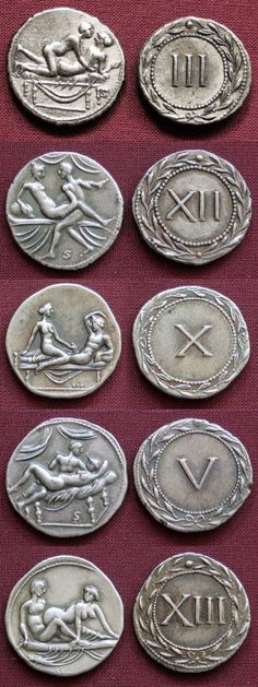Erotic Roman coins used as tokens for entrance in Roman brothels