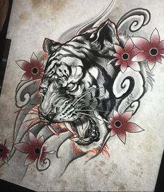 Tattoo Designs Sketches Artworks 41 Ideas For 2019 Japanese Tiger Tattoo, Japanese Tattoo Designs, Small Tattoo Designs, Japanese Tiger Art, Future Tattoos, Tattoos For Guys, Cool Tattoos, Tiger Tattoo Sleeve, Sleeve Tattoos