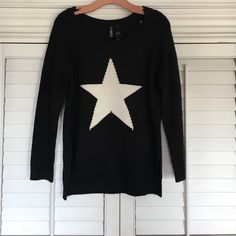 Sweater Only worn once. Very soft. The star has sparkles in it very cute with leggings. Bisou Bisou Sweaters Crew & Scoop Necks