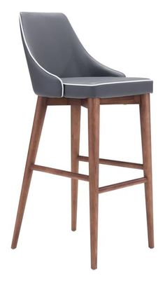 Moor Bar Chair in Dark Gray Leatherette with Contrast Piping on Tapered Wood Legs