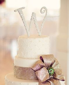 Monogram Cake Topper Covered Front & Back in pearls and SWAROVSKI CRYSTALS  6 inch by hotpinkhannah, $119.95