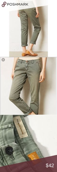 """{Anthropologie} Pilcro and the letterpress chino Excellent used condition Anthro Pilcro chino in an army green color. Luxurious feeling chino material and really cute worn cuffed as ankle length or rolled down as a regular pant. These are a size 28, 29.5"""" inseam. I am sad to see these go! Anthropologie Pants"""
