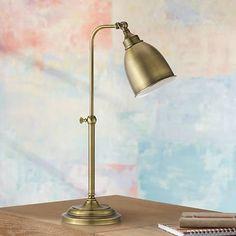 Antique Brass Metal Adjustable Pole Pharmacy Desk Lamp - #P9572 | Lamps Plus