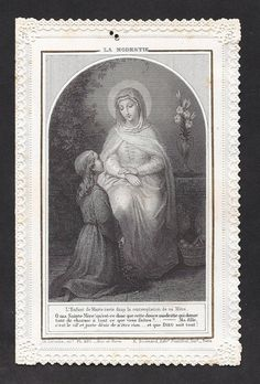 """""""Antique 'The Modesty' Old French Lace Holy Card on Modesty,"""" Etsy.  Click on image to see details of this beautiful holy card with French writings.  (I would LOVE to have this very special card.)"""