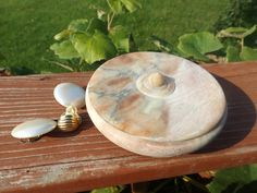 Antique natural stone jewelry box with lid trinket box by RetroBuy,