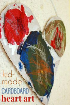 These cardboard art projects for kids are a great way to recycle corrugated cardboard scraps while making fun modern art for the wall. Valentine Crafts For Kids, Winter Crafts For Kids, Craft Projects For Kids, Crafts For Kids To Make, Valentines For Kids, Art Projects, Valentine Ideas, Art Activities For Toddlers, Painting Activities