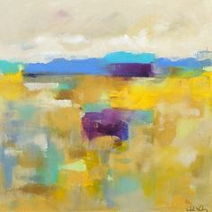 Colorful Yellow Abstract Landscape Original Acrylic Painting - Sunshine Afternoon 20 x 20 via Etsy