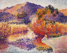 Rivière à Saint-circuit, huile sur toile de Henri Edmond Cross (1856-1910, France)