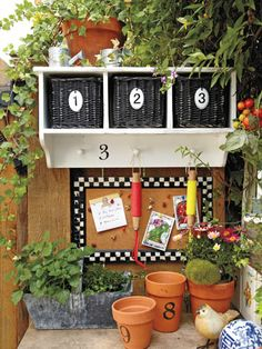 Get Organized with a practical plant-potting station repurposing items & creating a durable work space ideas.