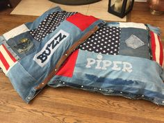 Extra Large Denim Customized Dog Bed by isabellabluedesigns