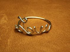 love wire ring   love sterling silver wire script ring by keoops8,