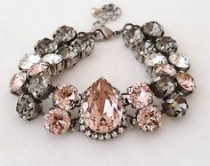 Rose gold Blush braceletMorganite crystal braceletBlush