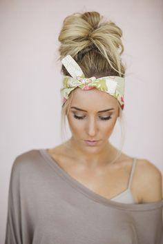 Dolly Bow Floral Tie Up Headscarf Headband by ThreeBirdNest