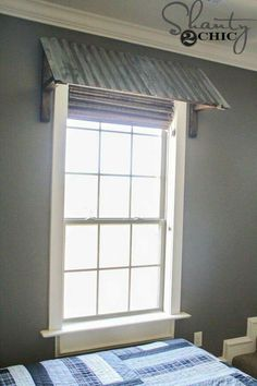 DIY Corrugated Metal Awning DIY Corrugated Metal Window Awning Love this! The post DIY Corrugated Metal Awning appeared first on Etta Ward. Metal Awnings For Windows, Inside Shutters For Windows, Valences For Windows, Porch Windows, Basement Windows, Small Windows, Rideaux Design, Deco Champetre, Creation Deco