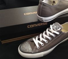 6307fb0f3731 Dark Gray Converse Low Top Canvas Mens Charcoal Grey Chuck Taylor w  Swarovski  Crystal Bling Rhinestone All Star Bride Wedding Sneakers Shoe