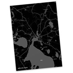 Postkarte Stadt Black aus Karton 300 Gramm  weiß - Das Original von Mr. & Mrs. Panda.  Diese wunderschöne Postkarte aus edlem und hochwertigem 300 Gramm Papier wurde matt glänzend bedruckt und wirkt dadurch sehr edel. Natürlich ist sie auch als Geschenkkarte oder Einladungskarte problemlos zu verwenden. Jede unserer Postkarten wird von uns per Hand entworfen, gefertigt, verpackt und verschickt.    Über unser Motiv Stadt Black  Die wunderschönen Stadtmotive im modernen BlackStil sind wirklich…