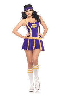 NBA L.A. Lakers Sexy Cheerleader Uniform Costume Adult