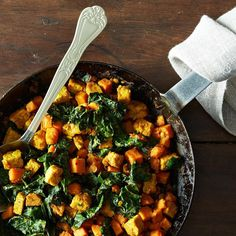 A bunch of collard/greens recipes: shown: Tempeh and Sweet Potato Hash on Food52