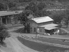 The Campbells Creek Coal Company store at Dana, WV still existed when this picture was snapped from the Turnpike bridge over the river in 1991 -1991 image by Norse Angus