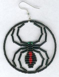 beaded black widow spider earrings