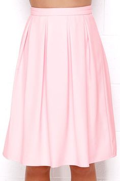 Lovely Light Pink Skirt - Midi Skirt - Pleated Skirt - High-Waisted Skirt - $48.00