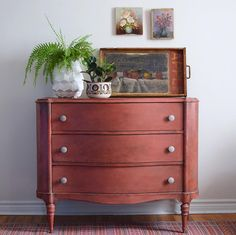 Dresser with Chalk Paint® in Scandinavian Pink with accents in Barcelona Orange, Florence and French Linen | Poppyseed Creative Living