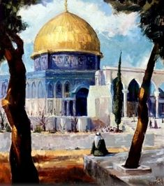 Historical Art, Historical Architecture, Art And Architecture, Palestine History, Palestine Art, Terra Santa, Dome Of The Rock, Arabian Art, Islamic Paintings
