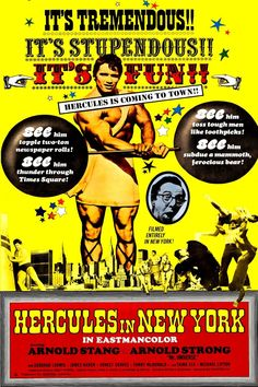 Hercules In New York - 1969 - Movie Poster Magnet Genre Posters, Movie Posters, Arnold Stang, Poster Wall, Poster Prints, 1969 Movie, Fantasy Posters, Poster Maker, Fantasy Movies
