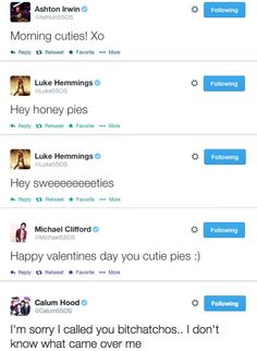 5sos tweet such sweet things, and then there's Calum...