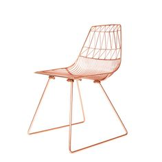 triangle copper bertoia wire chair steel