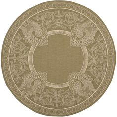 Courtyard Olive/Natural (Green/Natural) 5 ft. 3 in. x 5 ft. 3 in. Indoor/Outdoor Round Area Rug
