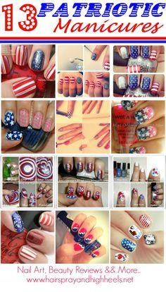 13 Patriotic Manicures via McNamara McNamara Knight and HighHeels Get Nails, Love Nails, How To Do Nails, Pretty Nails, Hair And Nails, 4th Of July Nails, Fourth Of July, Patriotic Nails, Nail Tips