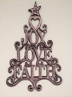 Laser cut wooden tree joy love & faith by livelaughcreate on Etsy, $12.00