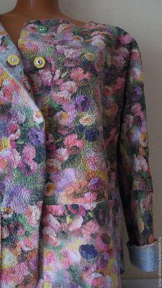 Купить Жакет валяный Цветочная поляна шерсть 100% шёлк в интернет магазине на Ярмарке Мастеров