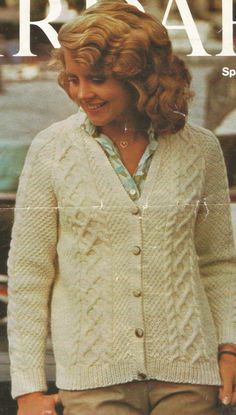abc980b164b2ab Items similar to Knitting Pattern Ladies Women s Aran   Fishermans 10 ply size  32-38 in 81-97 cm on Etsy