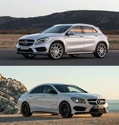 Why make one vehicle with the world's most powerful series production turbo four-cylinder when you can make two? Hence a pair of Affalterbach's latest, the CLA45 AMG and the GLA45 AMG. But which is right for you? Need to lap an autocross course post haste? Or do you need to lap it while carrying your gear at the same time? Let us know in the comments below, then read Motor Trend's take. http://mbenz.us/1ghE5v8   #Mercedes #MercedesBenz #Louisville #AMG